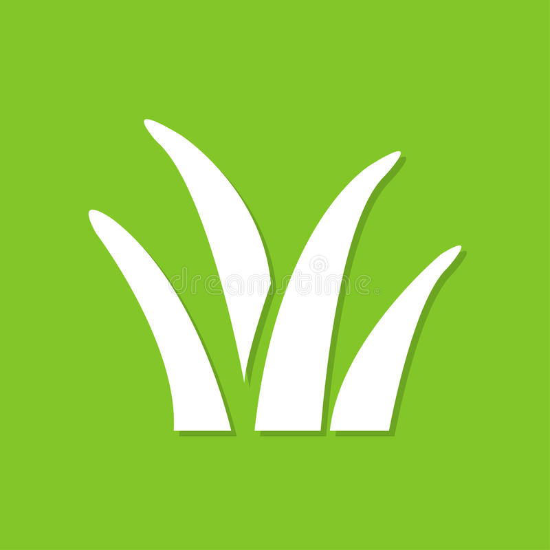 Εικονίδιο χλόης με τη σκιά σε ένα επίπεδο σχέδιο σε ένα πράσινο υπόβαθρο απεικόνιση αποθεμάτων