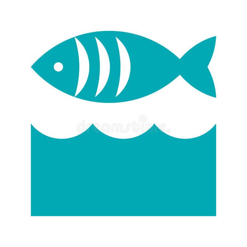 Εικονίδιο ψαριών και κυμάτων ελεύθερη απεικόνιση δικαιώματος