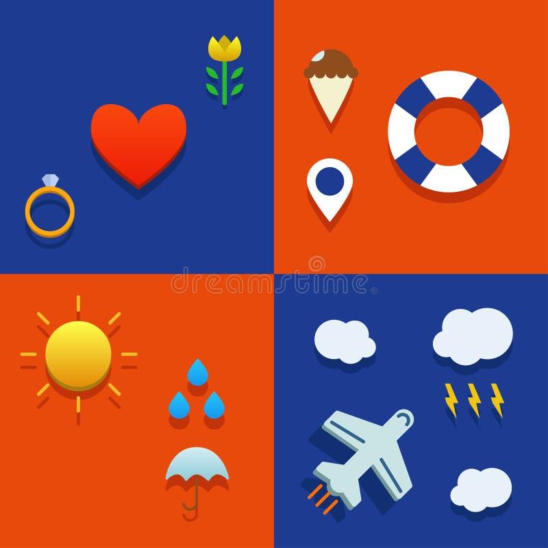 Εικονίδιο Infografic που τίθεται με την αγάπη, τον καιρό, το πέταγμα και το θέμα τουριστών στοκ φωτογραφία