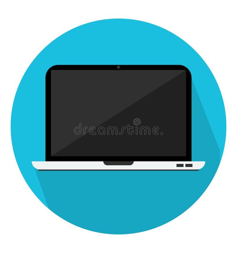 Εικονίδιο lap-top στο καθιερώνον τη μόδα επίπεδο ύφος στοκ εικόνες
