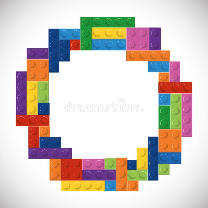 Εικονίδιο Lego Αφηρημένος αριθμός κύκλων σαν διανυσματικά κύματα στροβίλου ανασκόπησης διακοσμητικά γραφικά τυποποιημένα απεικόνιση αποθεμάτων