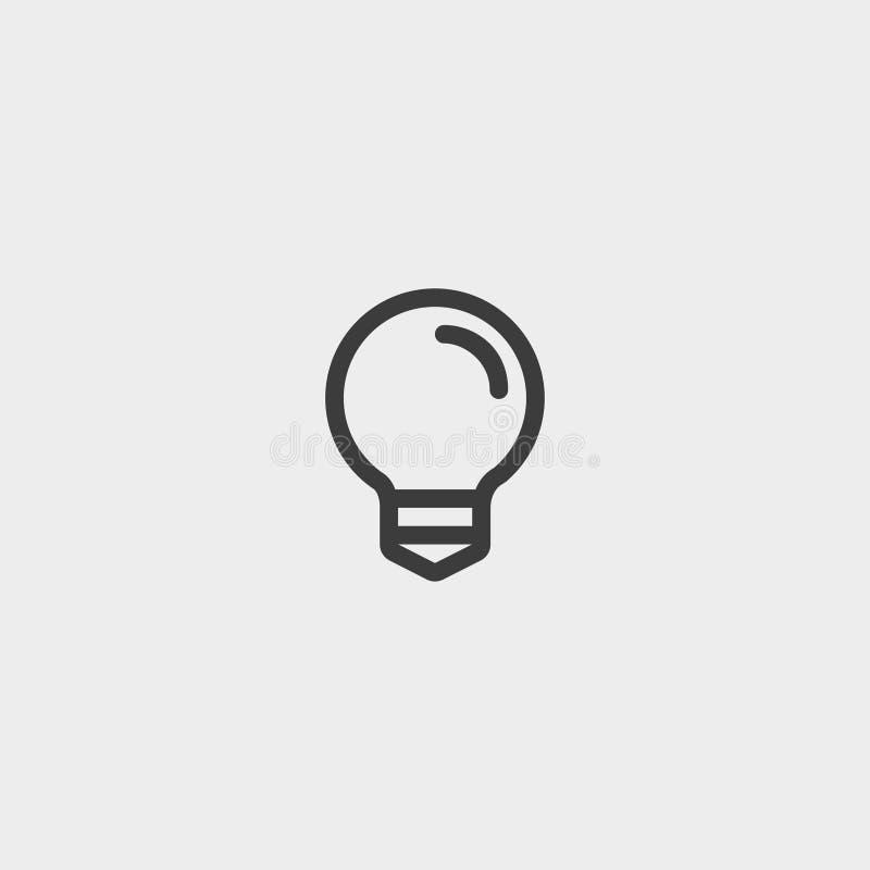 Εικονίδιο Lightbulb σε ένα επίπεδο σχέδιο στο μαύρο χρώμα Διανυσματική απεικόνιση EPS10 διανυσματική απεικόνιση