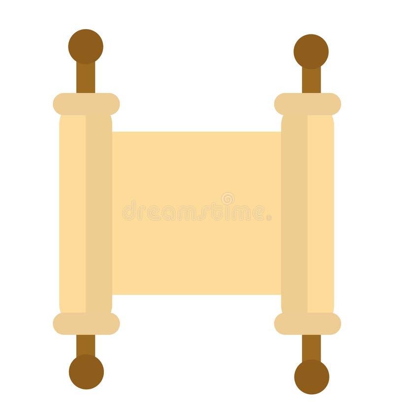 Εικονίδιο Torah Επίπεδο ύφος κυλίνδρων Το Scripture είναι απομονωμένο σε ένα άσπρο υπόβαθρο Λογότυπο Torah επίσης corel σύρετε το ελεύθερη απεικόνιση δικαιώματος