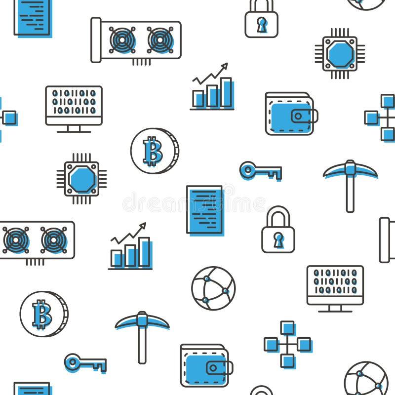 Εικονικά νομίσματος bitcoin μπλε εικονίδια σχεδίων μεταλλείας άνευ ραφής με το άσπρο υπόβαθρο απεικόνιση αποθεμάτων