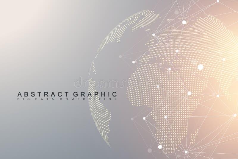 Εικονική γραφική επικοινωνία υποβάθρου με την παγκόσμια σφαίρα Μια αίσθηση της επιστήμης και της τεχνολογίας Απεικόνιση ψηφιακών  διανυσματική απεικόνιση