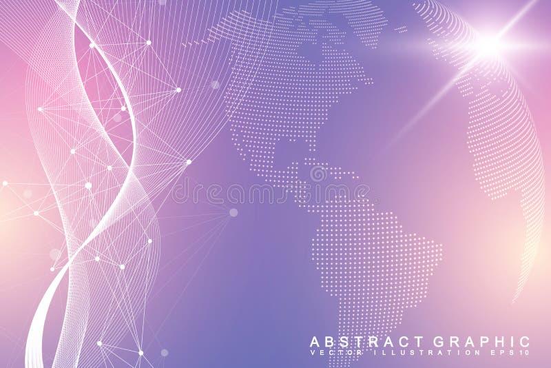 Εικονική γραφική επικοινωνία υποβάθρου με την παγκόσμια σφαίρα Μια αίσθηση της επιστήμης και της τεχνολογίας Απεικόνιση ψηφιακών  ελεύθερη απεικόνιση δικαιώματος