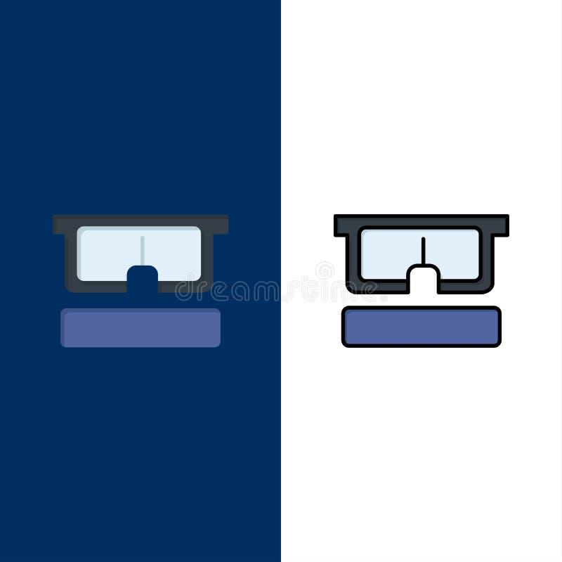 Εικονική, γυαλιά, ιατρική, εικονίδια ματιού Μπλε διανυσματικό φόντο συνόλου εικονιδίων με γέμισμα επίπεδης γραμμής απεικόνιση αποθεμάτων