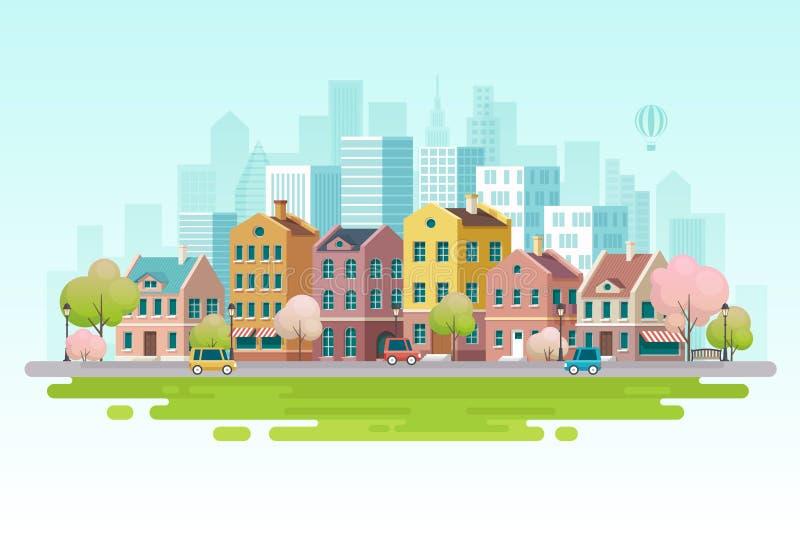 Εικονική παράσταση πόλης άνοιξη επίσης corel σύρετε το διάνυσμα απεικόνισης ελεύθερη απεικόνιση δικαιώματος