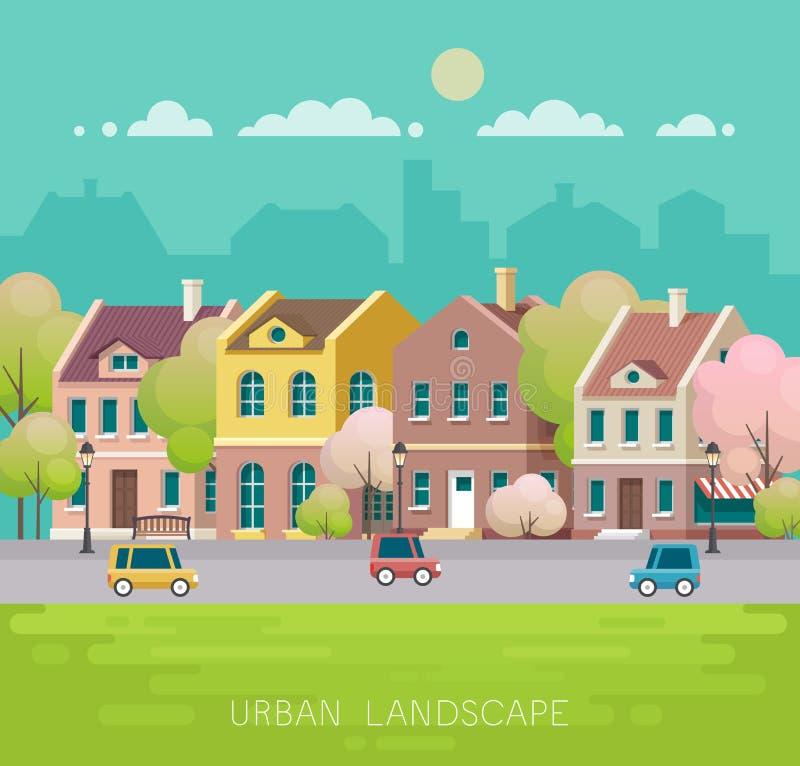 Εικονική παράσταση πόλης άνοιξη επίσης corel σύρετε το διάνυσμα απεικόνισης διανυσματική απεικόνιση
