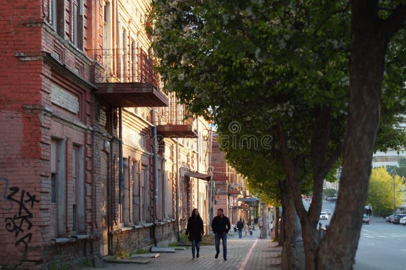 Εικονική παράσταση πόλης: ένα τμήμα της οδού Malyshev, στεγάζει το αριθ. 58-56 στοκ φωτογραφίες με δικαίωμα ελεύθερης χρήσης