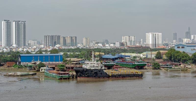 Εικονική παράσταση πόλης και άποψη ποταμών της πόλης Χο Τσι Μινχ (Saigon) Βιετνάμ, στοκ φωτογραφία με δικαίωμα ελεύθερης χρήσης