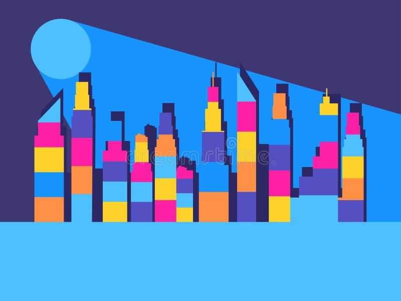 Εικονική παράσταση πόλης με τους ουρανοξύστες Τα περιγράμματα των κτηρίων με τις ζωηρόχρωμες γραμμές διάνυσμα απεικόνιση αποθεμάτων