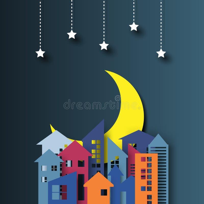 Εικονική παράσταση πόλης νύχτας, αστέρια και μισό φεγγάρι διανυσματική απεικόνιση