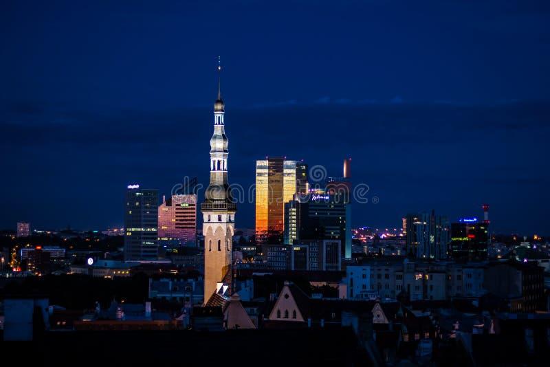 Εικονική παράσταση πόλης νύχτας του παλαιού Ταλίν, της Εσθονίας, των μ στοκ εικόνες