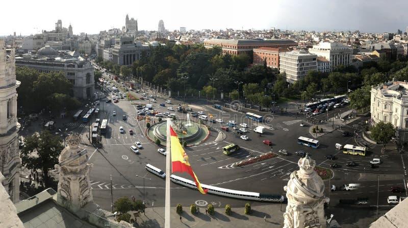 Εικονική παράσταση πόλης που πυροβολείται Ισπανία της Μαδρίτης, στοκ εικόνα