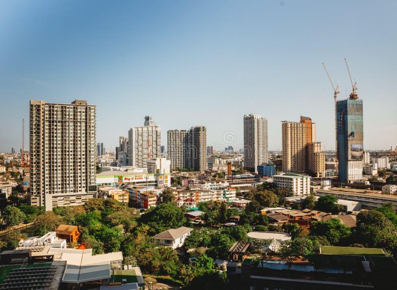 Εικονική παράσταση πόλης της Μπανγκόκ των διαφορετικών κτιρίων γραφε στοκ φωτογραφία με δικαίωμα ελεύθερης χρήσης