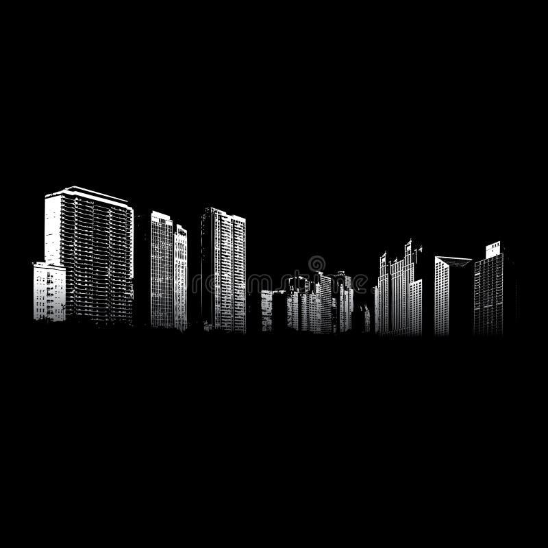 Εικονική παράσταση πόλης τη νύχτα ελεύθερη απεικόνιση δικαιώματος