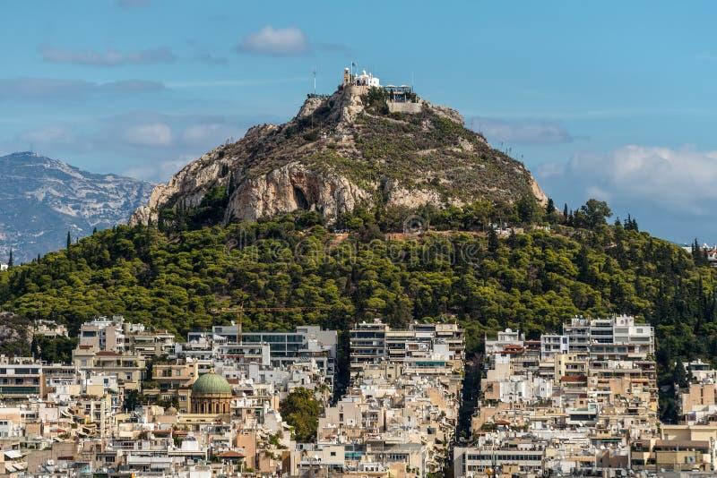 Εικονική παράσταση πόλης του Hill της Αθήνας και Lycabettus, Ελλάδα στοκ εικόνες