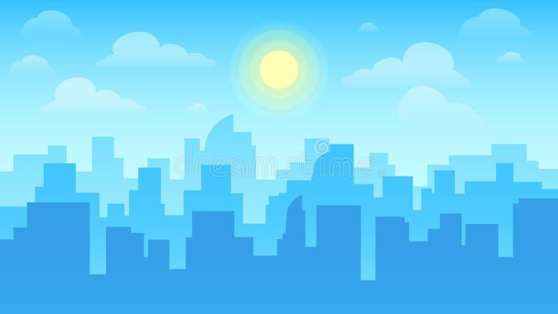 εικονική παράσταση πόλης &alp Αρχιτεκτονική πόλεων, κτήρια ουρανοξυστών και τοπίο κωμοπόλεων με τον ήλιο στο νεφελώδες διανυσματι ελεύθερη απεικόνιση δικαιώματος