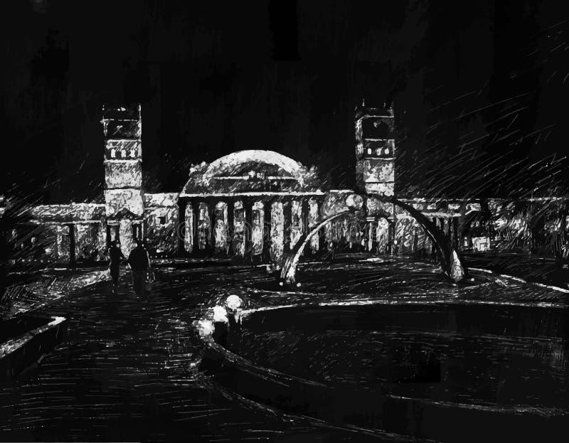 Εικονική παράσταση πόλης νύχτας, αίθουσα απεικόνιση αποθεμάτων