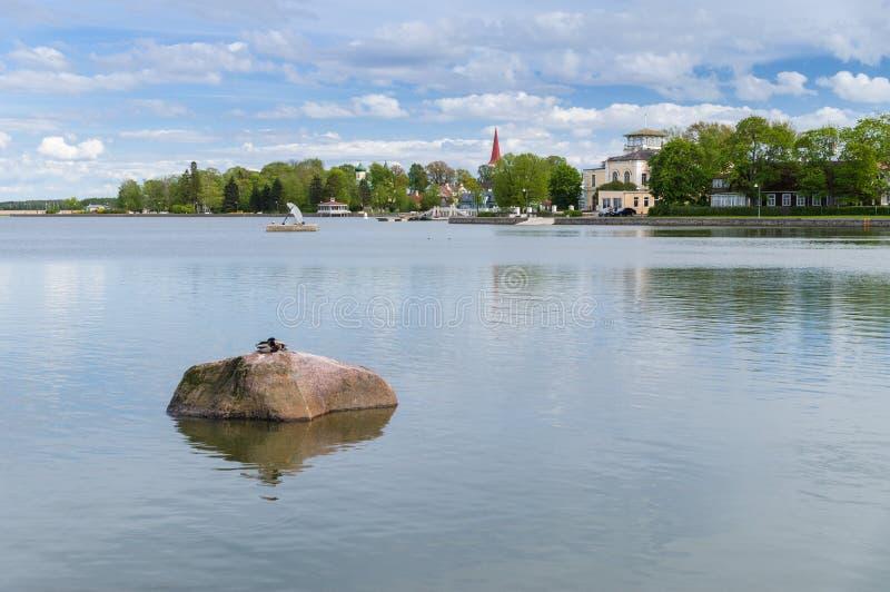 Εικονική παράσταση πόλης στην πόλης ακτή Haapsalu, Εσθονία στοκ φωτογραφία με δικαίωμα ελεύθερης χρήσης