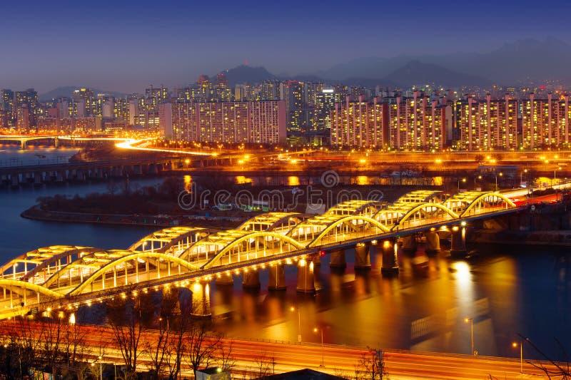 Εικονική παράσταση πόλης της γέφυρας Hangang στην Κορέα στοκ φωτογραφίες με δικαίωμα ελεύθερης χρήσης