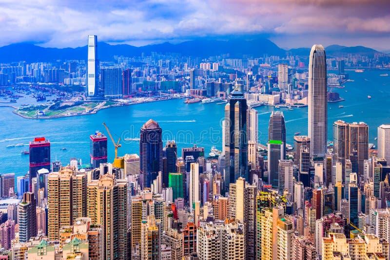 Εικονική παράσταση πόλης της Κίνας Χονγκ Κονγκ στοκ εικόνες με δικαίωμα ελεύθερης χρήσης