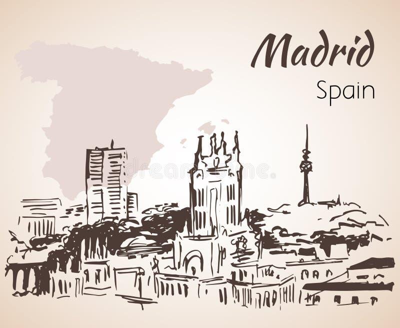 Εικονική παράσταση πόλης της Μαδρίτης με το χάρτη διανυσματική απεικόνιση
