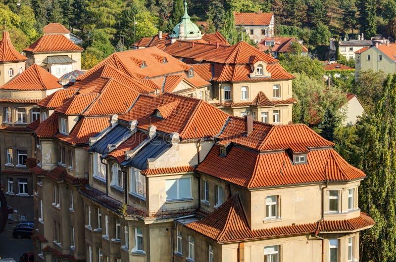 Εικονική παράσταση πόλης της Πράγας στον αργά το απόγευμα ήλιο, Τσεχία Φωτογραφία που λαμβάνεται σε Vysehrad στοκ φωτογραφία με δικαίωμα ελεύθερης χρήσης