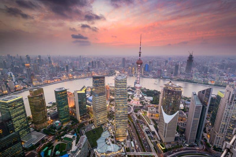 Εικονική παράσταση πόλης της Σαγκάη Κίνα στοκ εικόνα με δικαίωμα ελεύθερης χρήσης