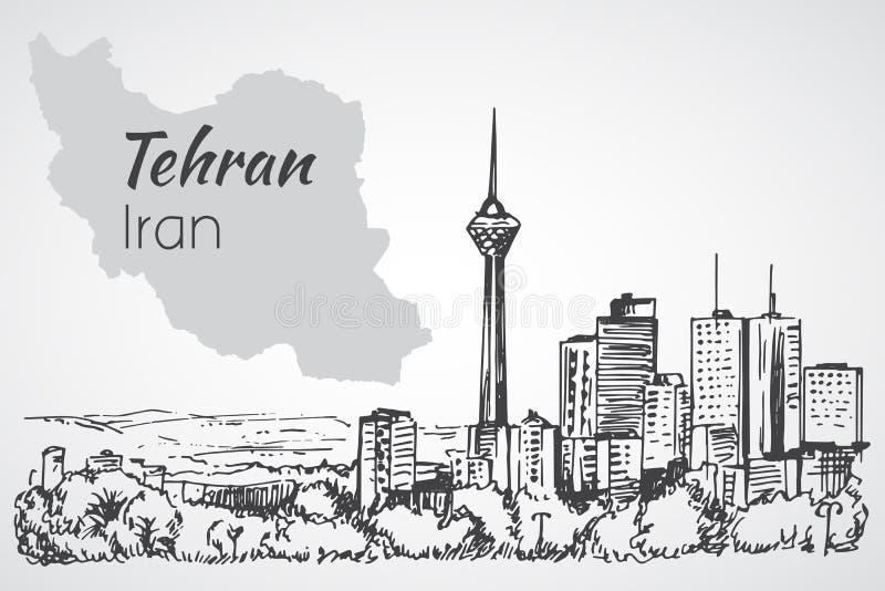Εικονική παράσταση πόλης της Τεχεράνης - Ιράν σκίτσο απεικόνιση αποθεμάτων