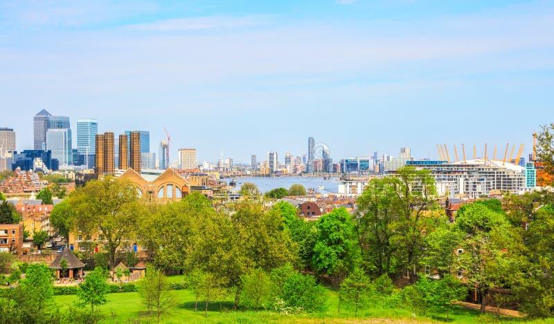 Εικονική παράσταση πόλης του Λονδίνου από το Γκρήνουιτς στοκ εικόνες