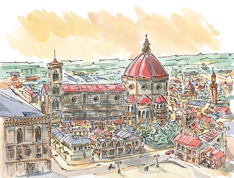 Εικονική παράσταση πόλης χαλαρή βασισμένη στην άποψη της Φλωρεντίας διανυσματική απεικόνιση