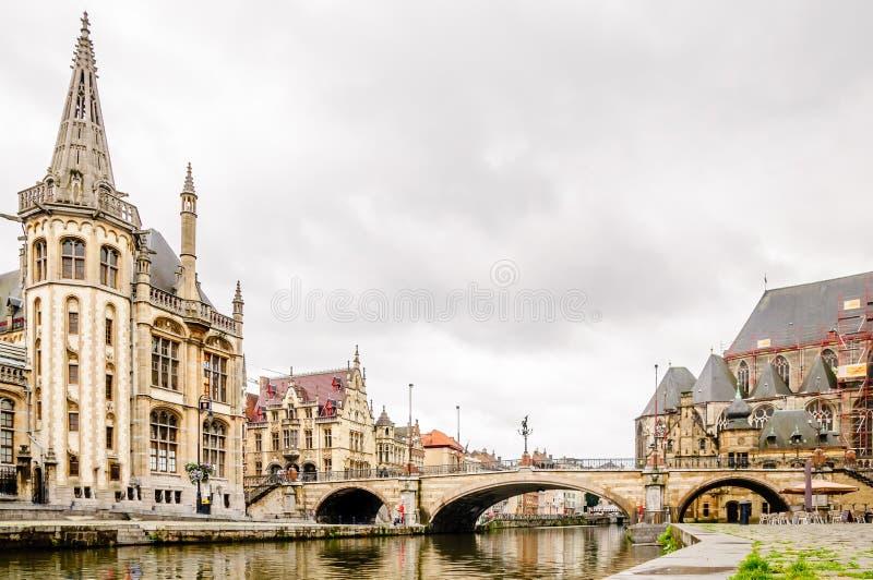 Εικονική παράσταση πόλης Gent στο Βέλγιο στοκ φωτογραφία με δικαίωμα ελεύθερης χρήσης