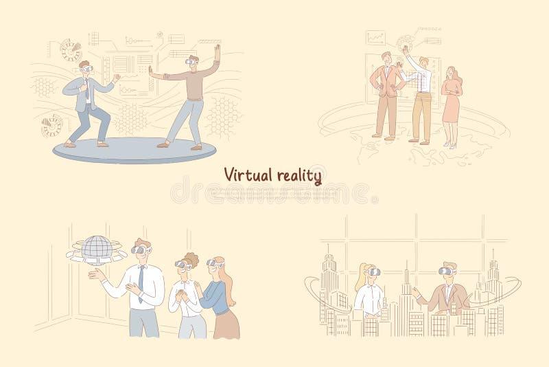Εικονική πραγματικότητα στη καθημερινή ζωή, άτομο στα γυαλιά VR που εκπαιδεύουν τις πολεμικές τέχνες, παρουσίαση στον πίνακα του  απεικόνιση αποθεμάτων
