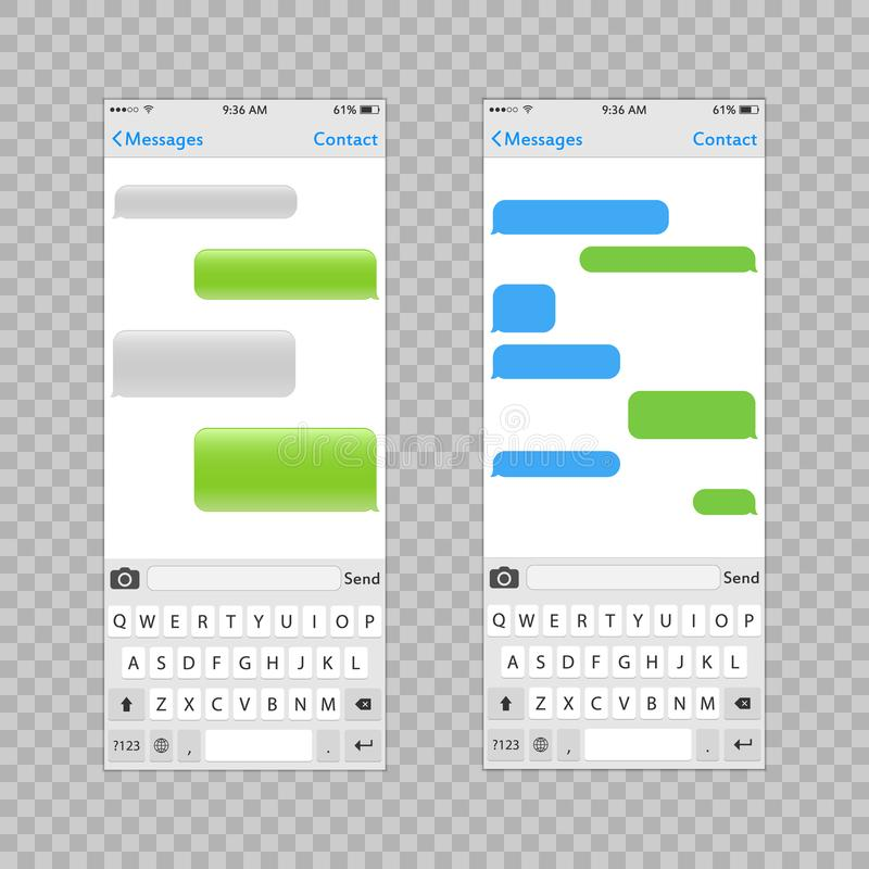 Εικονικός βασικός πίνακας για το κινητό τηλέφωνο με τη θέση για τα παράθυρα κειμένου συνομιλίας κειμένων Αλφάβητο και αριθμοί αρι ελεύθερη απεικόνιση δικαιώματος