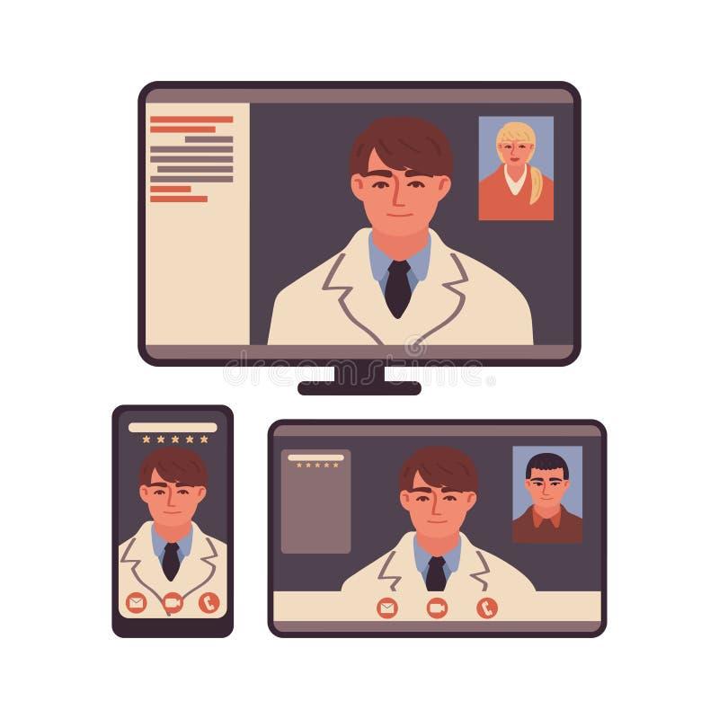 Εικονικός γιατρός σε οθόνη gadget Κινητό τηλέφωνο, tablet, οθόνη υπολογιστή Κλήση βίντεο Ηλεκτρονική ιατρική διαβούλευση διανυσματική απεικόνιση