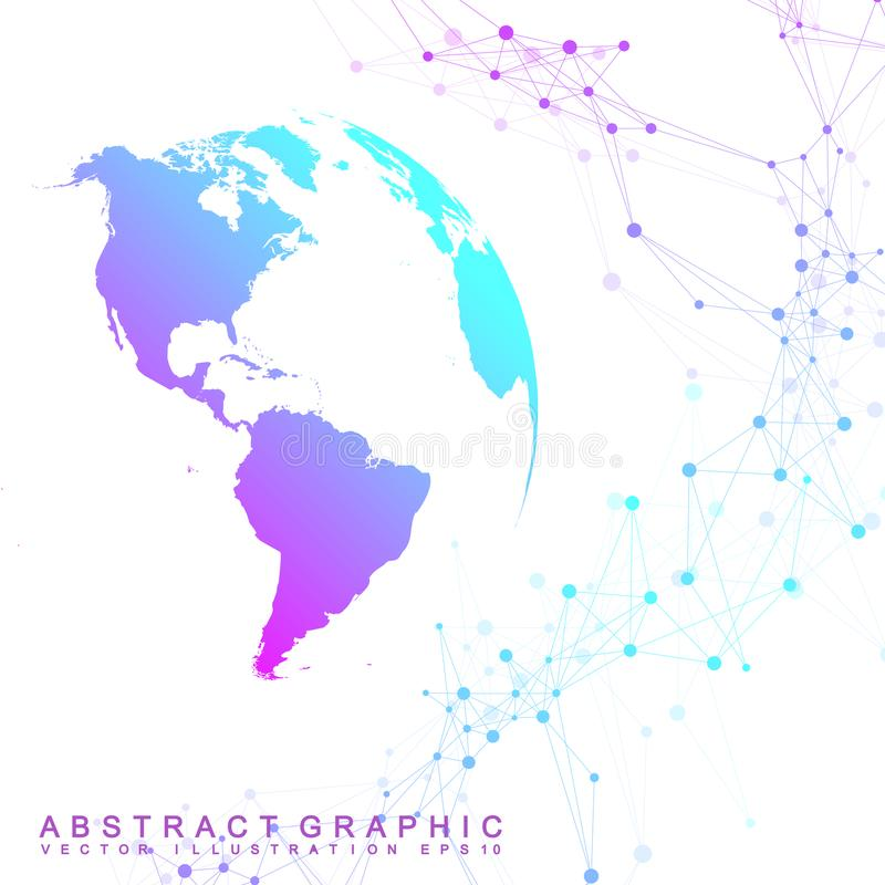 Εικονικό γραφικό υπόβαθρο με τις παγκόσμιες σφαίρες παγκόσμιο δίκτυο Απεικόνιση ψηφιακών στοιχείων επίσης corel σύρετε το διάνυσμ διανυσματική απεικόνιση