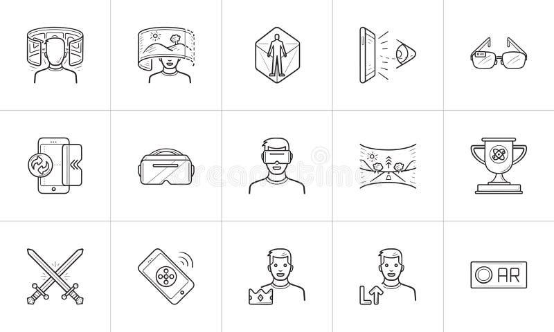 Εικονικό και αυξημένο σύνολο εικονιδίων περιλήψεων πραγματικότητας συρμένο χέρι doodle ελεύθερη απεικόνιση δικαιώματος