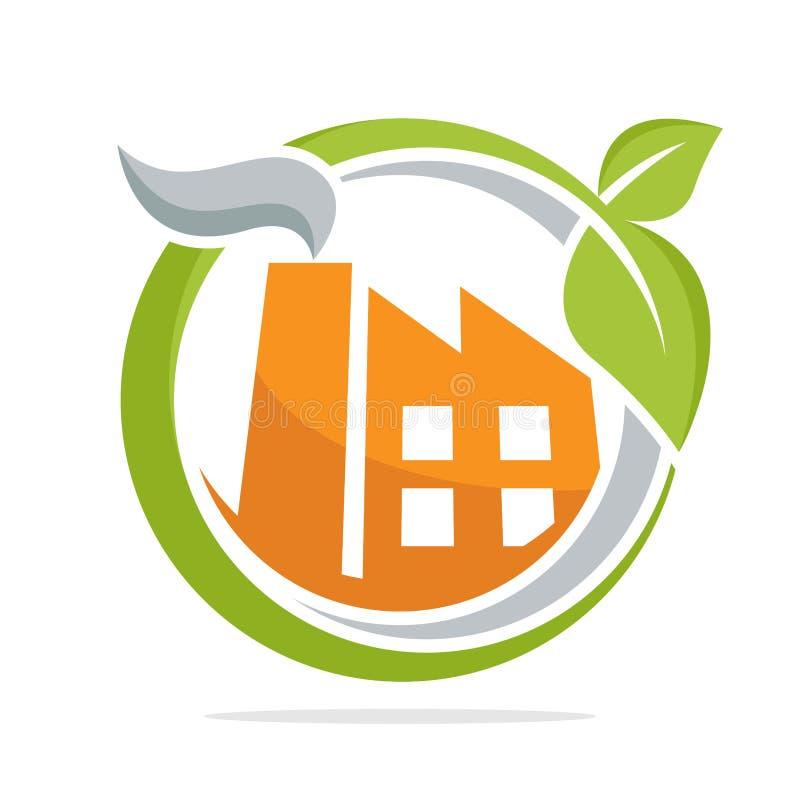 Εικονικό λογότυπο με την έννοια της φιλικής προς το περιβάλλον βιομηχανίας, φιλική προς το περιβάλλον πράσινη τεχνολογία διανυσματική απεικόνιση