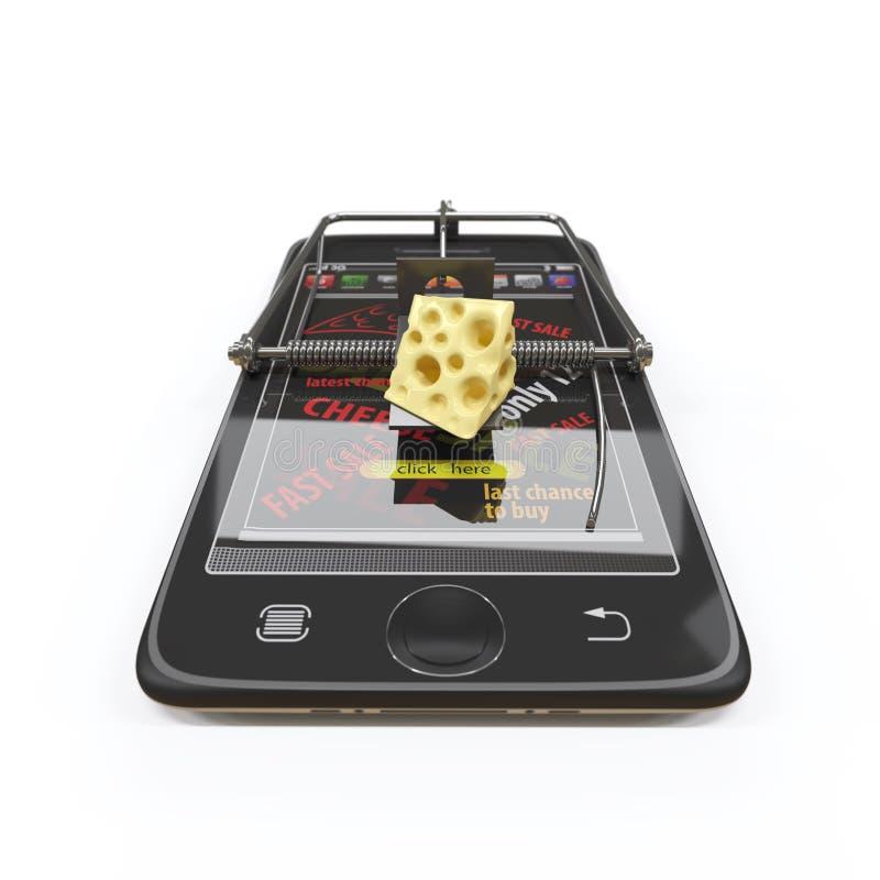 Εικονικό τυρί smartphone ως ποντικοπαγήδα και ποντίκι στοκ φωτογραφία