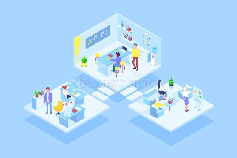 Εικονικό coworking γραφείο με την ομάδα επιχειρηματιών που εργάζεται από κοινού Διοίκηση επιχειρήσεων, σε απευθείας σύνδεση επικο ελεύθερη απεικόνιση δικαιώματος