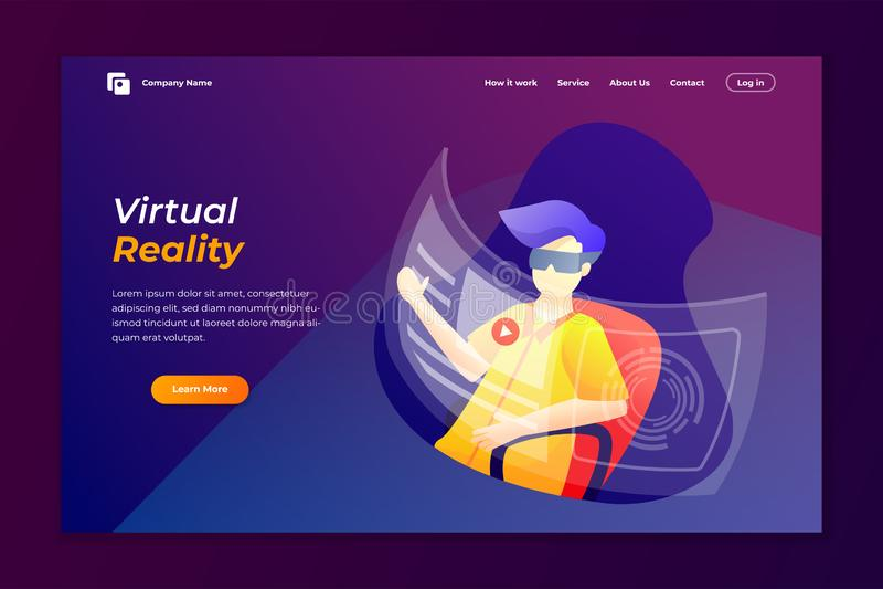 εικονικό realty προσγειωμένος πρότυπο σχεδίου σελίδων r απεικόνιση αποθεμάτων
