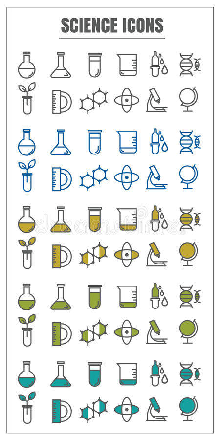 Εικονιδίων μαύρος μπλε κιτρινοπράσινος χρώματος επιστήμης διανυσματικός στην άσπρη πλάτη απεικόνιση αποθεμάτων