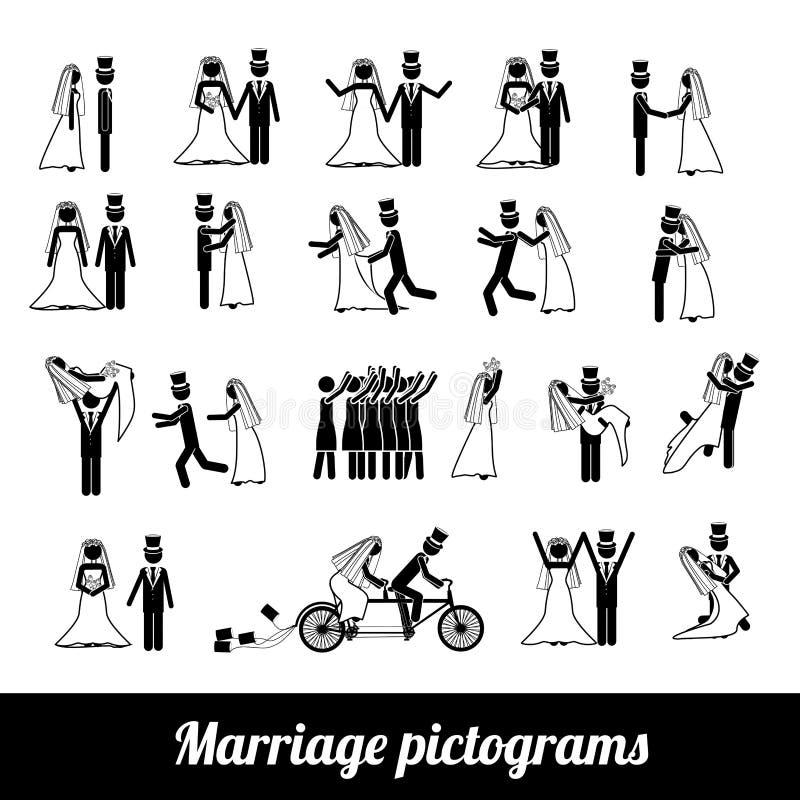 Εικονογράμματα γάμου απεικόνιση αποθεμάτων
