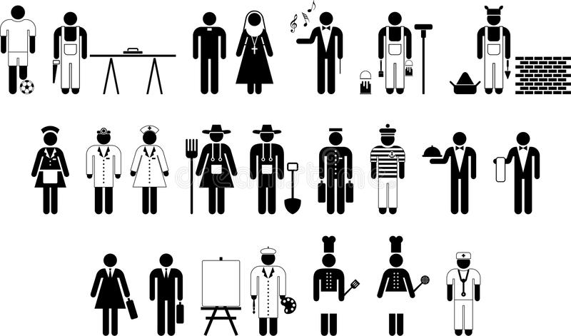 Εικονογράμματα των εργαζομένων διανυσματική απεικόνιση