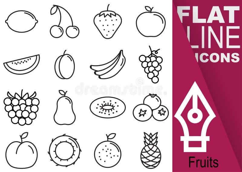 Εικονοκύτταρο κτυπήματος 70x70 Editable Απλό σύνολο διανυσματικών δέκα έξι επίπεδων εικονιδίων γραμμών φρούτων με το κάθετο έμβλη διανυσματική απεικόνιση
