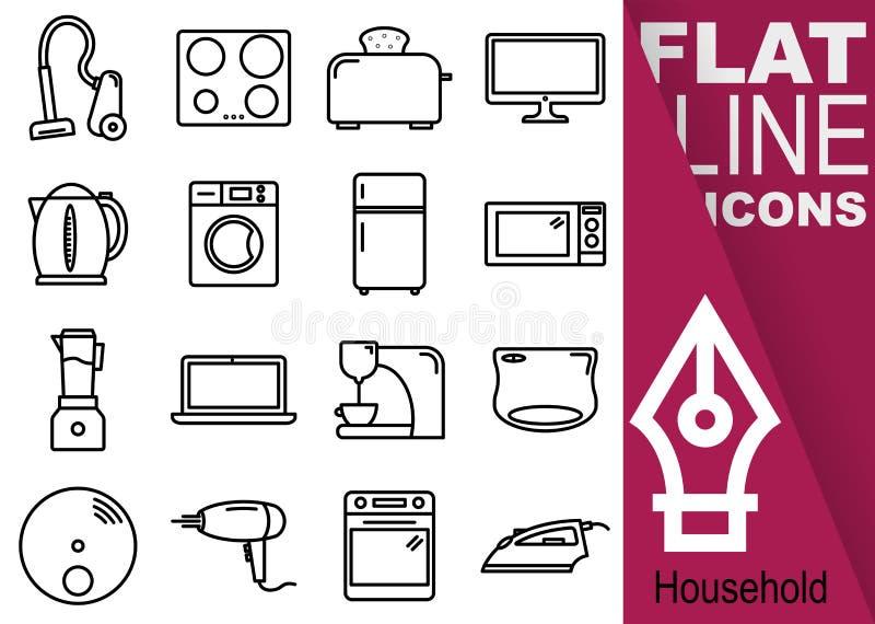 Εικονοκύτταρο κτυπήματος 70x70 Editable Απλό σύνολο εικονιδίων οικιακών διανυσματικών δέκα έξι επίπεδων γραμμών με το κάθετο πορφ ελεύθερη απεικόνιση δικαιώματος