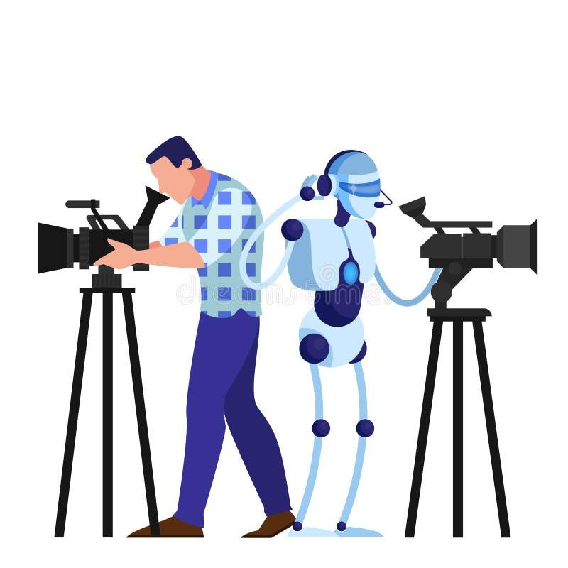 Εικονολήπτης και ρομπότ που κινηματογραφούν ταινία Εξοπλισμός βίντεο ελεύθερη απεικόνιση δικαιώματος