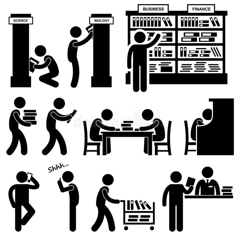 Εικονόγραμμα σπουδαστών βιβλιοπωλείων βιβλιοθηκάριων βιβλιοθήκης απεικόνιση αποθεμάτων